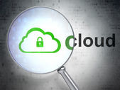 Cloud technology concept: Cloud With Padlock and Cloud with opti — Stock Photo