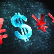 Currency concept: Dollar And Yen on digital background — Stock Photo