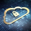Stock Photo: Computing concept: Golden Cloud With Padlock on digital ba