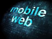 Conceito de desenvolvimento web Seo: Mobile Web sobre fundo digital — Fotografia Stock