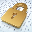Information concept: Golden Closed Padlock on digital background — Stock Photo