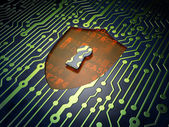 Safety concept: Shield With Keyhole on circuit board background — Foto de Stock