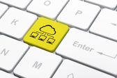 Cloud computing concept: Cloud Network on computer keyboard back — Stock Photo