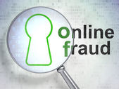 Security concept: Keyhole and Online Fraud with optical glass — Stock Photo