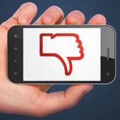 Social media concept: Unlike on smartphone — Stock Photo