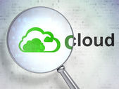 Networking concept: Cloud and Cloud with optical glass — Foto de Stock