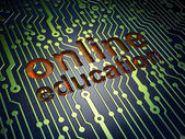 Education concept: Online Education on circuit board background — Zdjęcie stockowe