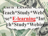Education concept: E-learning on Money background — Zdjęcie stockowe
