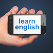 Education concept: Learn English on smartphone — Stock Photo