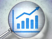 News concept: Growth Graph with optical glass on digital backgr — Stock Photo