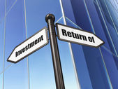 Finance concept: Return of Investment on Building background — Stock Photo