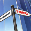 Business concept: Project Management on Building background — Stock Photo
