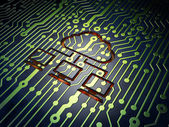 Cloud technology concept: Cloud Network on circuit board backgro — Stock Photo
