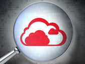 Cloud technology concept: Cloud with optical glass on digital b — Stock Photo