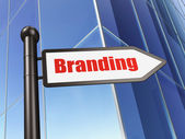 Advertising concept: Branding on Building background — Stock Photo