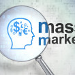 Advertising concept: Head With Finance Symbol and Mass Market wi — Stock Photo