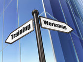 Education concept: Workshop Training on Building background — Foto de Stock