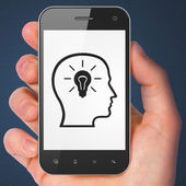 Data concept: Head With Lightbulb on smartphone — Stock Photo