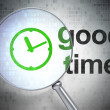 Timeline concept: Clock and Good Time with optical glass — Stock Photo