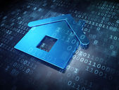 Privacy concept: Blue Home on digital background — Stok fotoğraf