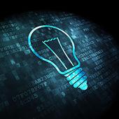 Finanzas concepto: bombilla sobre fondo digital — Foto de Stock