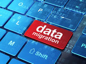 Data concept: Data Migration on computer keyboard background — 图库照片