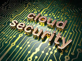 Cloud technology concept: Cloud Security on circuit board backgr — Stock fotografie