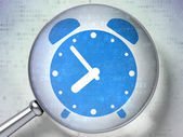 Time concept: Alarm Clock with optical glass on digital backgro — Stock Photo