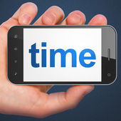 Time concept: Time on smartphone — Stock Photo