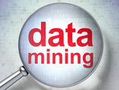 Information concept: Data Mining with optical glass — Stock Photo