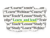 Education concept: Learn and Lead! on Paper background — Stok fotoğraf