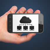 Cloud networking concept: Cloud Network on smartphone — Stock Photo