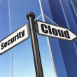 Cloud networking concept: Cloud Security on Building background — 图库照片