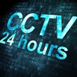 Safety concept: CCTV 24 hours on digital background — 图库照片