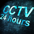 Safety concept: CCTV 24 hours on digital background — Stok fotoğraf