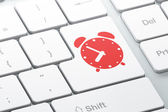 Time concept: Alarm Clock on computer keyboard background — Stock Photo