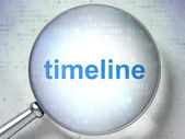 Timeline concept: Timeline with optical glass — Stock Photo