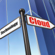 Cloud networking concept: Cloud Technology on Building backgroun — Foto Stock