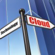 Cloud networking concept: Cloud Technology on Building backgroun — ストック写真