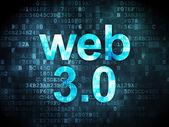 Conceito de desenvolvimento seo web: Web 3.0 no fundo digital — Fotografia Stock