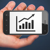 Finance concept: Growth Graph on smartphone — Stock Photo