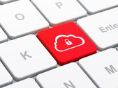 Cloud computing concept: Cloud With Padlock on computer keyboard — Stock Photo