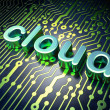Cloud technology concept: Cloud on circuit board background — Photo