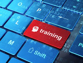 Education concept: Head With Finance Symbol and Training on comp — Stock Photo
