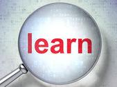 Eğitim kavramı: optik cam ile öğrenin — Stok fotoğraf