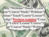 教育理念: 钱背景业务培训 — 图库照片