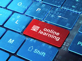 Education concept: Computer Pc and Online Learning on computer k — Stockfoto