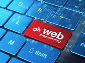 Web design concept: Gears and Web Programming on computer keyboa — Stock Photo