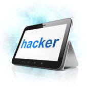 Safety concept: Hacker on tablet pc computer — Stockfoto