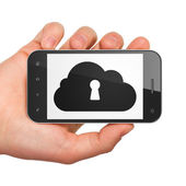 Cloud networking concept: Cloud With Keyhole on smartphone — Stock Photo